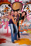 Teen girls graffiti wall Royalty Free Stock Image