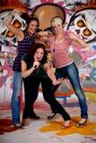Teen girls graffiti wall Stock Photos