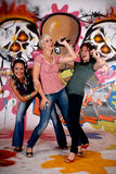 Teen girls graffiti wall Stock Photos