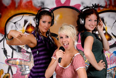 Teen girls graffiti wall Stock Photo