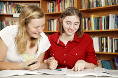 Teen Girls - Homework Fun Stock Photos