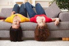 Teen girls listening to music Royalty Free Stock Images