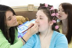 Teen Girls Make Over stock images