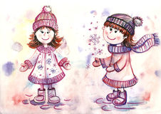 Teen girls painted in watercolor Royalty Free Stock Photo