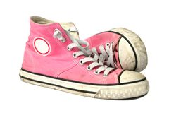 Teen girls pink sneakers Royalty Free Stock Photos