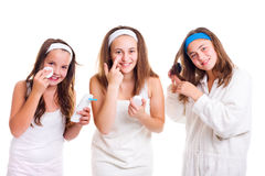 Teen girls primping Royalty Free Stock Image