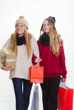 Teen girls shopping for gifts Royalty Free Stock Photos