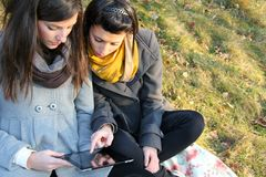 Teen girls with tablet pc Royalty Free Stock Images