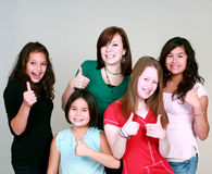 Teen girls with thumbs up Royalty Free Stock Photography