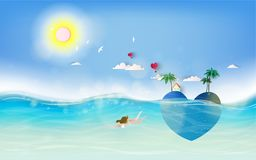 Teen girls in under water. Summer sunset with  tropical paradise heart shaped romantic island.  Stock Photography
