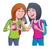 Teen Girls Using Their Cell Phones. Cartoon illustration of a two teenage girls using their cell phones while wearing backpacks vector illustration