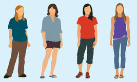 Teen Girls In various Poses. Four Teen girls wearing pants, capris and shorts in various poses Stock Photography
