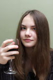 Teen with glass of wine Stock Photo