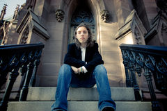 Teen on Gothic Steps Royalty Free Stock Image
