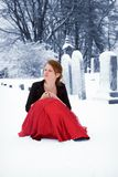 Teen in the Graveyard Stock Images