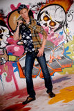 Teen guitar graffiti wall Stock Photos