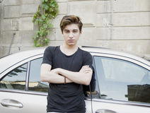 Teen guy. Guy teen by the car Royalty Free Stock Images