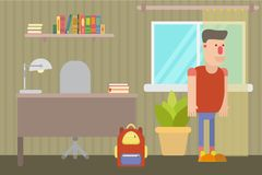 Teenager in a home interior with a Desk and a backpack by the window. Teen guy in his room. There is a Desk, a shelf with books, a window. There`s a home flower vector illustration