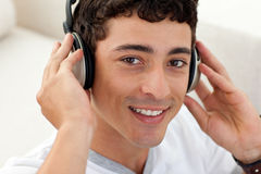 Teen guy listening to music Royalty Free Stock Photo