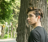 Teen guy. Guy teen in summer Park royalty free stock image