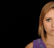 Teen half face portrait royalty free stock images