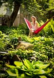Teen in a hammock Stock Images