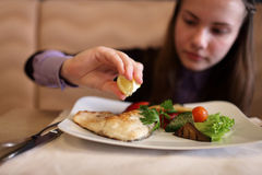 Teen has lunch Royalty Free Stock Photography