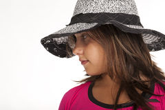 Teen with hat studio Stock Image