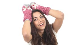 Teen have fun. With a sock on a white isolated background Stock Image