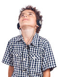 Teen headphones looking up Royalty Free Stock Images