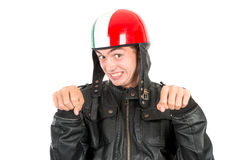 Teen with helmet. Teenager boy with helmet making faces isolated in white Stock Images