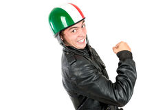 Teen with helmet. Teenager boy with helmet making faces isolated in white Stock Photography
