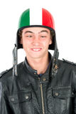 Teen with helmet. Teenager boy with helmet making faces isolated in white Stock Photos
