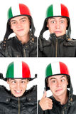 Teen with helmet. Teenager boy with helmet making faces isolated in white Stock Photo