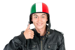 Teen with helmet. Teenager boy with helmet making faces  in white Royalty Free Stock Photos