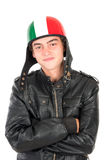 Teen with helmet. Teenager boy with helmet  in white Royalty Free Stock Images