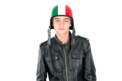 Teen with helmet. Teenager boy with helmet  in white Royalty Free Stock Photo