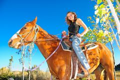 Teen and her horse Royalty Free Stock Photo