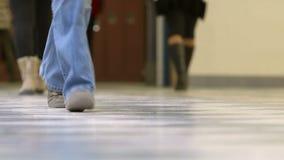 Teen high school students walking in hallway stock video footage