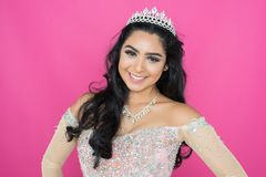 Beauty pageant queen. Teen hispanic girl competing in a beauty pageant Royalty Free Stock Photo