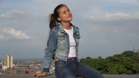 Teen Hispanic Girl Sitting stock video footage