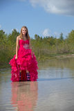 Teen holding up prom dress Stock Photography