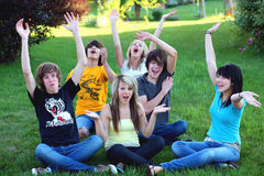 Teen Hooray. Teen guys and girls cheering Royalty Free Stock Photos