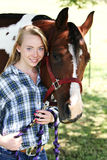 Teen with horse stock photography