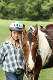 Teen with horse Royalty Free Stock Image