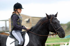 Teen, horse and cross 3. Teenager and her black stallion for a training of cross Royalty Free Stock Photo