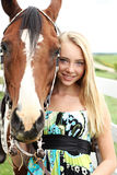 Teen and horse head shot Stock Images