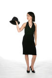 Teen In Black Dress With Black Top Hat Stock Photo
