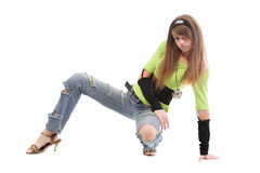 Teen In Ripped Bluejeans Royalty Free Stock Photos