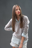 Teen in jeans shorts Stock Photo